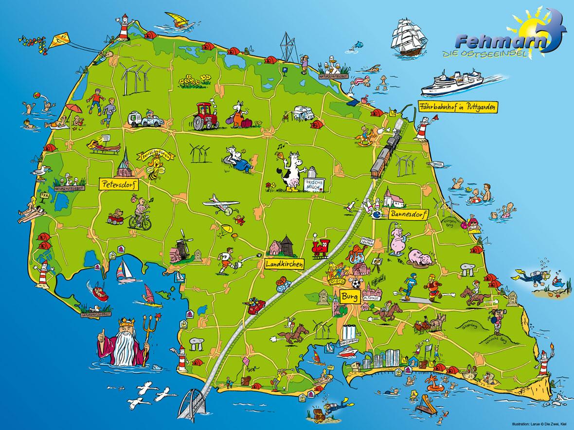 Larue Illustration Grafik Kinder Landkarte